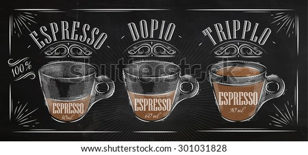 Poster coffee espresso in vintage style drawing with chalk on the blackboard - stock vector