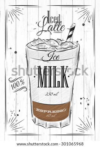 Poster coffee iced latte in vintage style drawing on wood background - stock vector