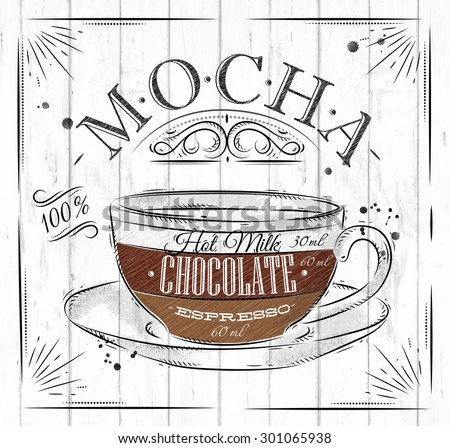 Poster coffee mocha in vintage style drawing on wood background - stock vector