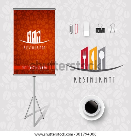 Poster Corporate identity Corporate identity Menu Restaurant Background coffee beans  - stock vector