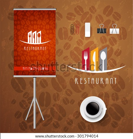 Poster Corporate identity Corporate identity Menu Restaurant Background coffee beans brown - stock vector