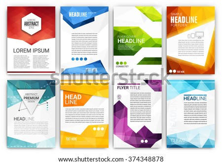 Poster Design Template Set - Abstract modern polygonal flyer collection - stock vector