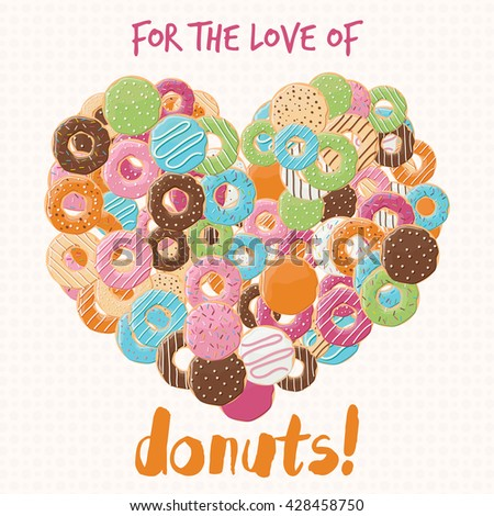 Poster design with colorful glossy tasty donuts, vector illustration - stock vector