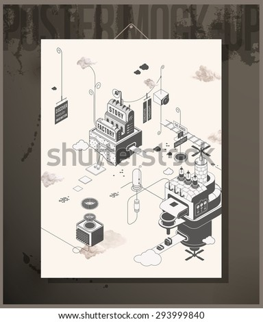 Poster- Discover through imagination - stock vector
