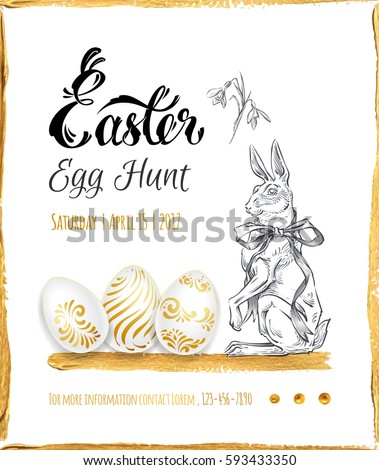 Poster Easter Egg Hunt Calligraphy Gold Stock Vector 593433350 ...