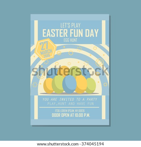 Poster, Flat banner or background for Easter fun day - Vector flat design art