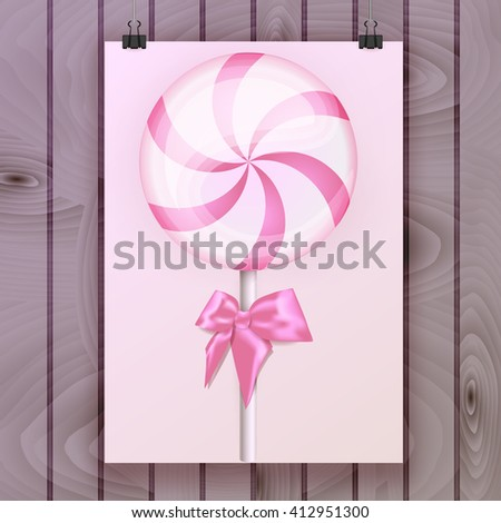 Poster, Flyer, Brochure with swirl pink sweet lollipop, color realistic candy on a background of wooden planks. Vector illustration. EPS 10. - stock vector