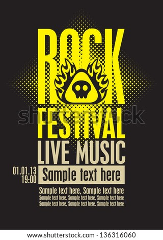 poster for a rock festival with skull on fire - stock vector