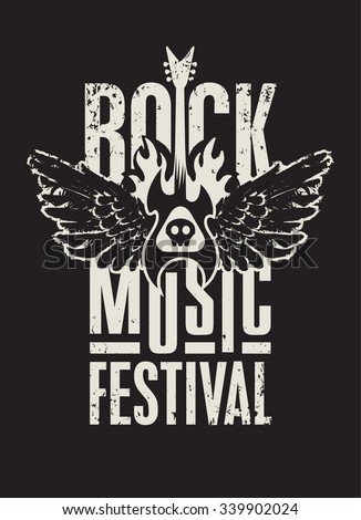 poster for a rock music festival with  skull, guitar and wings - stock vector
