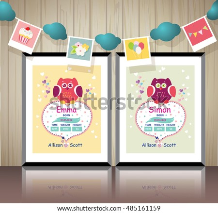 Poster Childrens Room New Born Baby Stock Vector 485161159