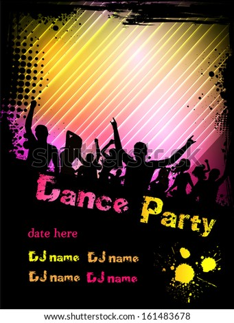 Poster for disco party with silhouettes of dancing people, grunge frame and colorful blots
