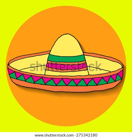 Poster for fiesta time with colorful hand drawn sombrero. Cinco de Mayo banner.