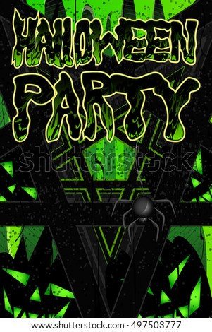 Poster for Halloween party invitations. Green slime. Vector. Pentagrams and the slime on the granite tombstone. Hanging spider and pumpkin-ghosts.