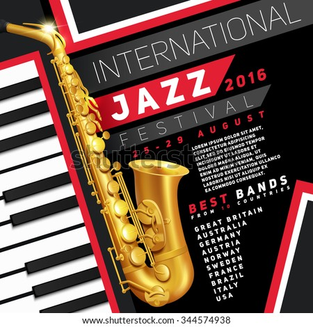 Poster for jazz festival with golden saxophone and piano keys vector Illustration  - stock vector