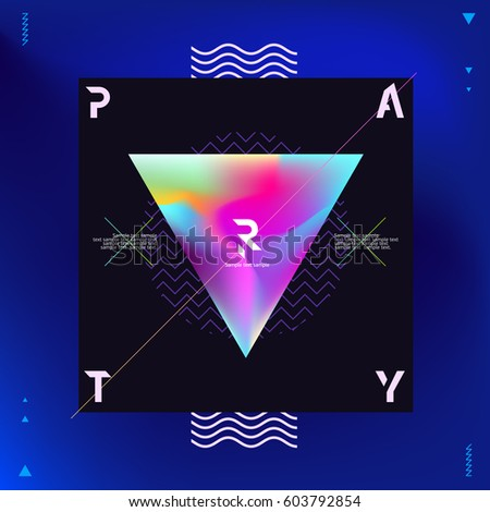 Poster for  night party. Neon vector design.