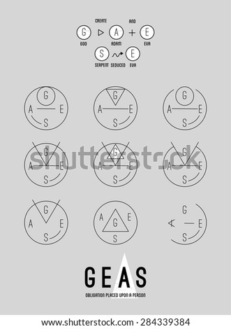 Poster -Geas -Set of vector trendy geometric icons. Alchemy symbols collection. Religion, philosophy, spirituality, occultism. - stock vector