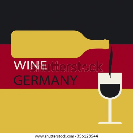Poster Germany wine on the background of the flag. A bottle of wine with a wineglass - stock vector