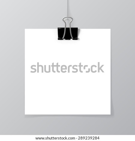 Poster hanging on a thread with one black clip. Blank sheet of paper against a concrete wall mock up. Urban minimalistic style portfolio presentation concept. Vector illustration. - stock vector