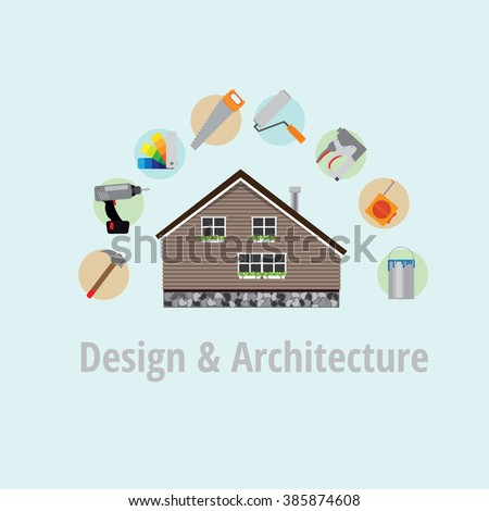 Poster home repairs. In the picture there is a house. Around the house there are tools for finishing otdelki. Fon blue. - stock vector