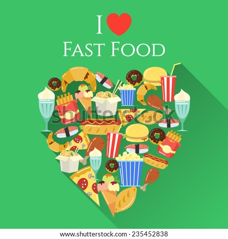 poster I love fast food - stock vector