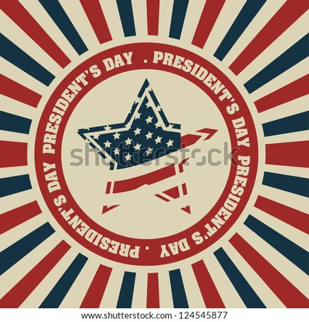 Poster illustration of President's Day in the United States of America in vintage style, vector illustration