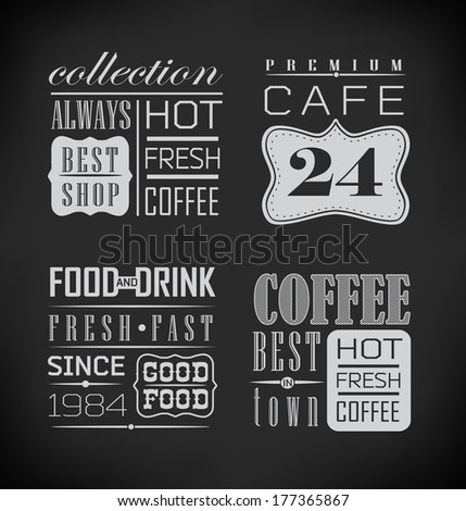 Poster lettering take coffee/Set of typographic elements/ illustration