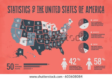 Poster Map United States America State Stock Vector - Usa map in detail