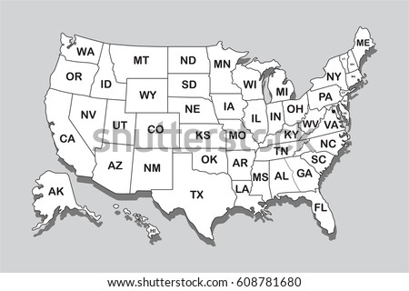 Poster Map United States America State Stock Vector - United states of anerica map