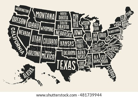 Poster Map United States America State Stock Vector - Picture of the united states of america map