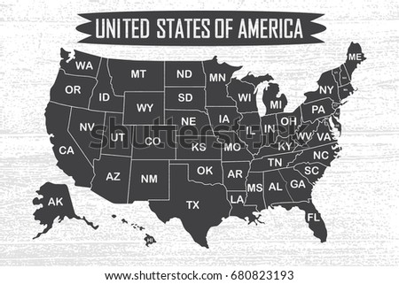 poster map of united states of america with state names black and white print map