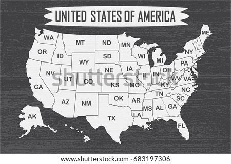 Poster Map United States America State Stock Vector - Map ofunited states