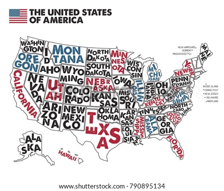 Poster Map United States America State Stock Vector - United states map without state names