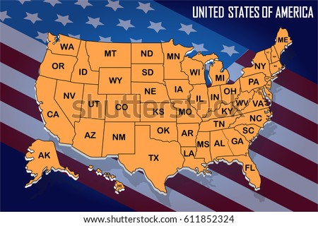 Poster Map Of United States Of America With State Names On The Flag Background Orange