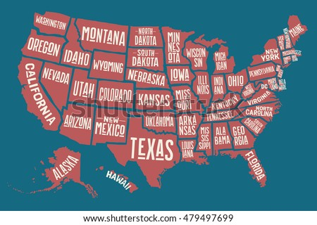 Poster Map United States America State Stock Vector