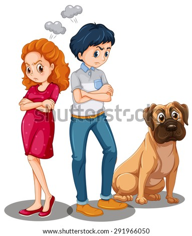 Poster of a couple being angry at each other and a dog sitting near them - stock vector