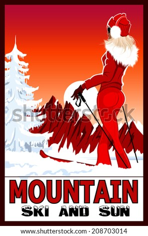 Poster of a woman practicing ski in the white snowy mountains - vector illustration - stock vector