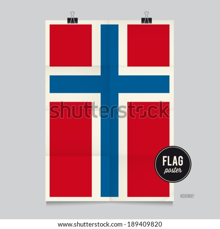 Poster of the Norway flag. Vintage folds and shadows effects are editable thanks to different layers. - stock vector