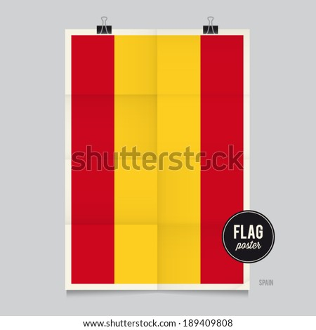 Poster of the Spain flag. Vintage folds and shadows effects are editable thanks to different layers. - stock vector