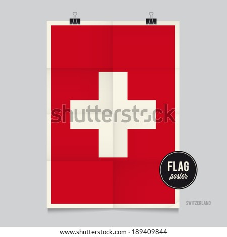 Poster of the Switzerland flag. Vintage folds and shadows effects are editable thanks to different layers. - stock vector