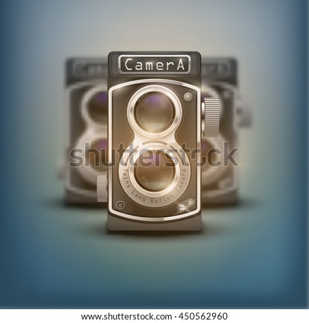 Poster of Vintage twin lens reflex cameras. Front view. Realistic retro design of medium format camera. Vector Illustration isolated on white background. - stock vector