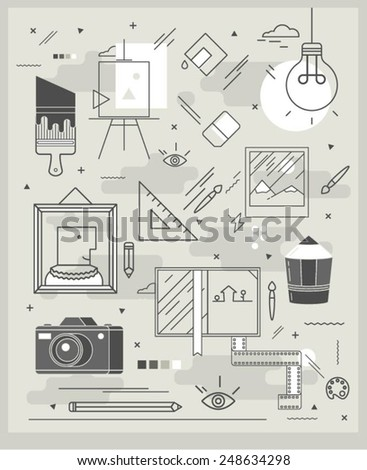 poster on topics of painting, illustration and photography, vector illustration - stock vector