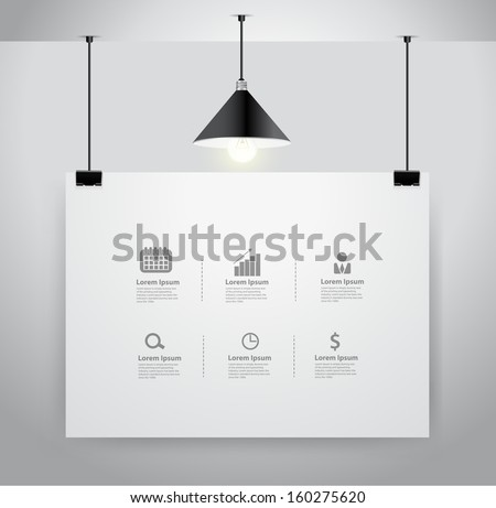 Poster on wall and lamp, Vector illustration template modern design - stock vector