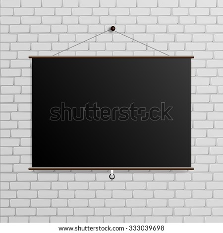 Poster on white brick wall, mock up - stock vector