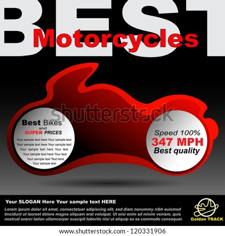 Poster or billboard about motorcycles, race so moto shop. Premium design for announcement