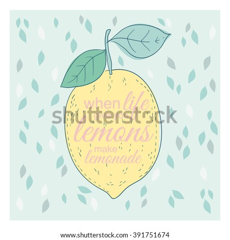 Poster or card with lemon and lettering - stock vector
