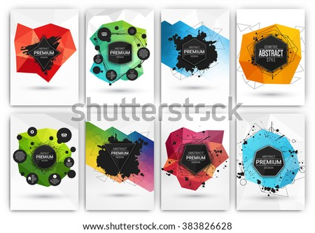 Poster or Flyer Design Template Set - Abstract modern polygonal backgrounds collection - stock vector