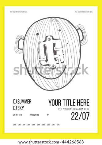 Poster or flyer template for your party or event. Minimalism. Vector image. doodle