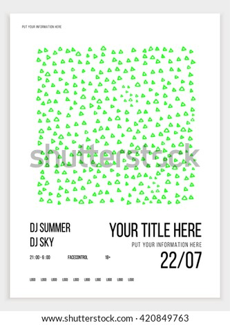 Poster or flyer template for your party or event. Minimalism. Vector image. triangles doodle