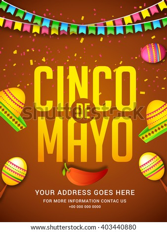 Poster or party flyer of Cinco De Mayo celebration background. - stock vector
