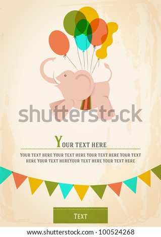 Poster, postcard, card or invitation with a circus elephant, flying on balloons. vector Image - stock vector